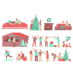 christmas flat icon set vector image