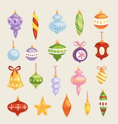christmas tree toys decorations balls vector image
