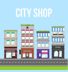 City street with shop cafe and restaurant vector