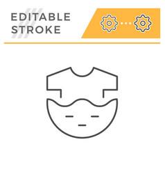 clothes washing editable stroke line icon vector image