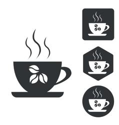 Coffee cup icon set monochrome vector image