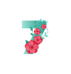 color number 7 with beautiful flowers vector image