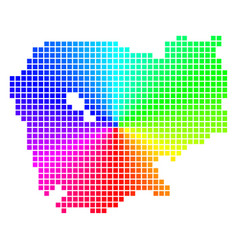 Colored dotted cambodia map vector