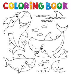 Coloring book shark topic collection 1 vector