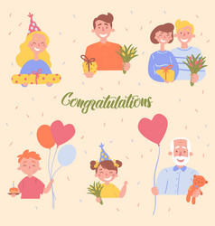 congratulations birthday celebration poster vector image