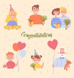 congratulations birthday celebration poster vector image