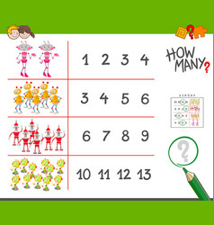 Counting task with robots cartoon vector