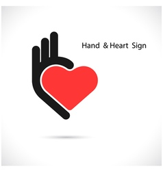 Creative hand and heart shape abstract vector