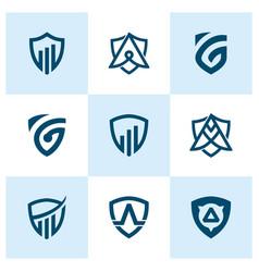 creative shield logo and icon set vector image
