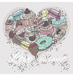 Cute heart from sweets vector image