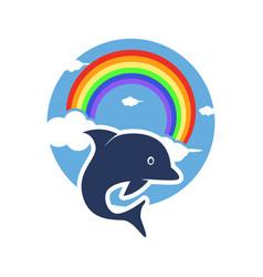 Dolphin and rainbow logo animal cartoon modern vector