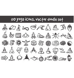 Doodle yoga icons set vector