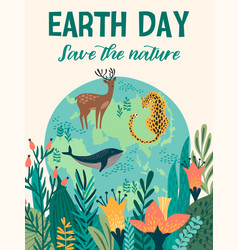 earth day design for card poster banner vector image