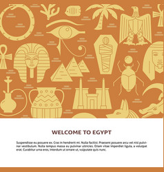 Flat style background with egyptian symbols and vector