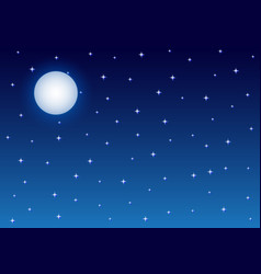 full moon and starry night sky background vector image