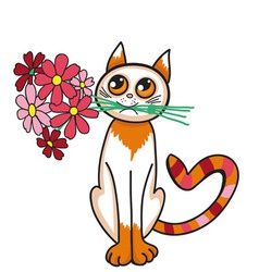 Funny cat with a bouquet of flowers vector image