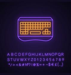 Gaming keyboard neon light icon vector