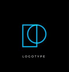 geometric shape letter p line monogram vector image
