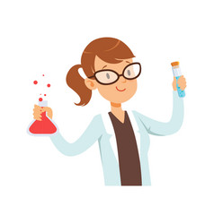 Girl chemist character female scientist in white vector