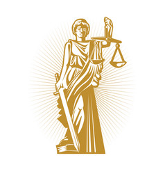 Gold silhouette greek goddess justice vector