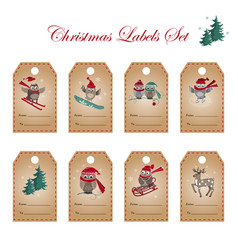 greeting labels with owls deer and fir tree vector image
