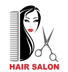 hair salon icon with girl scissors and comb vector image