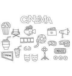 Hand drawn cinema set coloring book template vector