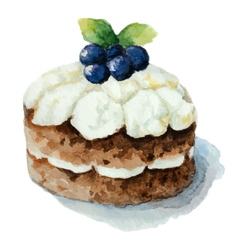 Hand painted watercolor cake with blueberries vector