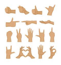 Hands showing deaf-mute different gestures human vector