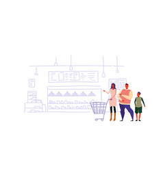 happy family holding shopping trolley cart vector image