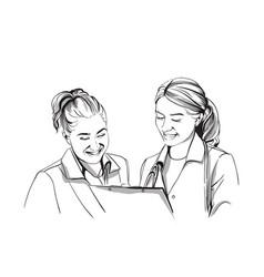 Happy two women doctors smiling sketch storyboard vector
