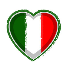 heart shaped flag of italy vector image