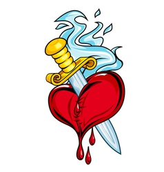 heart with dagger vector image