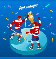 hockey cup isometric background vector image