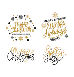 holly jolly quote merry christmas greetings text vector image
