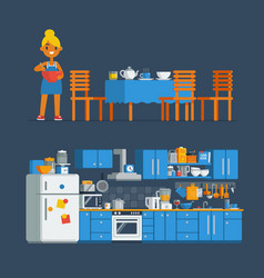 Housewife chef make a cook in a kitchen vector