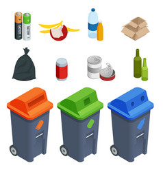 Isometric set of waste sorting cans segregation vector
