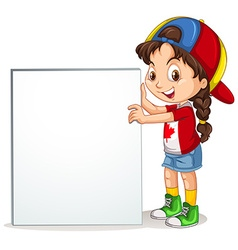 Little girl holding sign vector