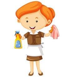 Maid with cleaning cloth and spray bottle vector