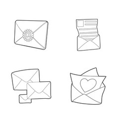 mail icon set outline style vector image