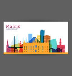 malmo colorful architecture skyline vector image