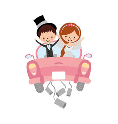 married couple in car avatar characters vector image