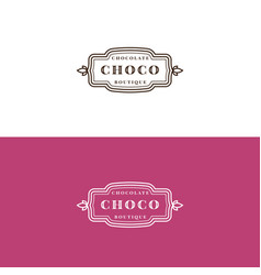 minimalistic chocolate shop label design vector image