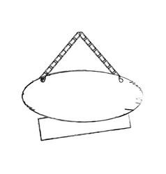 Monochrome contour of pair pieces wooden sign vector