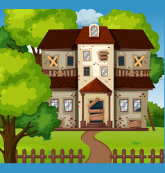 Old house with green garden vector