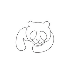 one continuous line drawing adorable panda vector image