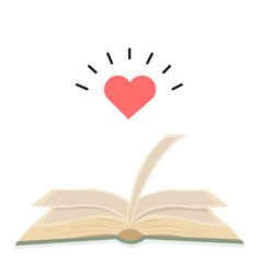 Open green book with heart vector