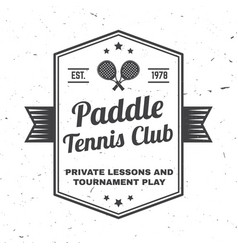 Paddle tennis club badge emblem or sign vector