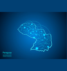 Paraguay map with nodes linked by lines concept vector