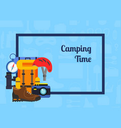 pile of flat style camping elements vector image